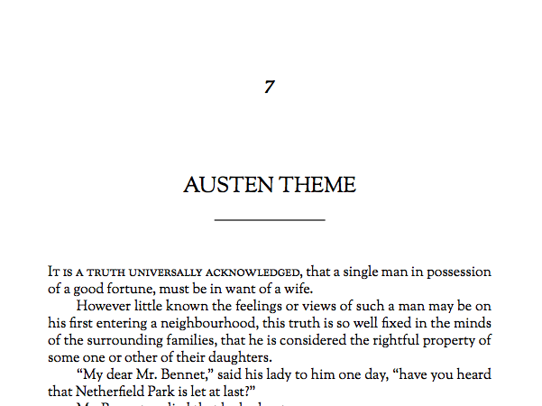 Named for English author Jane Austen, this is a traditional book theme, with serif fonts, that works well for fiction and simple-layout non-fiction.