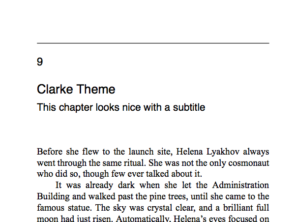 Named after Arthur C. Clarke, this is a simple book theme, with some light modern touches. Good for fiction and non-fiction. Body font is Tinos; headers Lato.