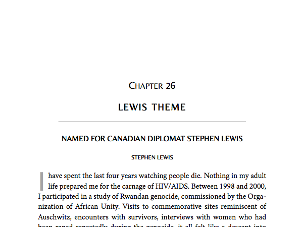 Named for Canadian diplomat and writer Stephen Lewis, this theme is built for nonfiction, but can work for fiction as well.