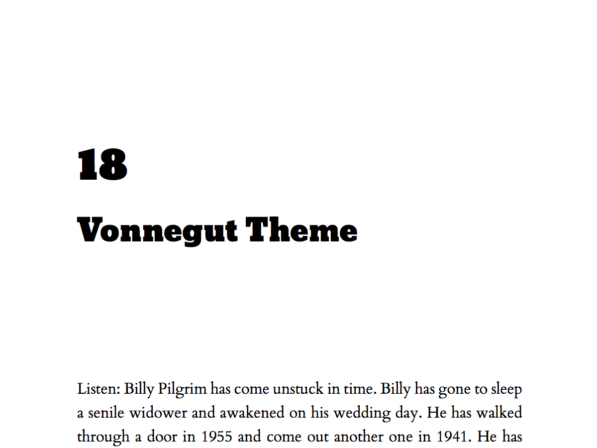 Named for Kurt Vonnegut, Jr., this theme with bold, slab title fonts is the perfect way to say,