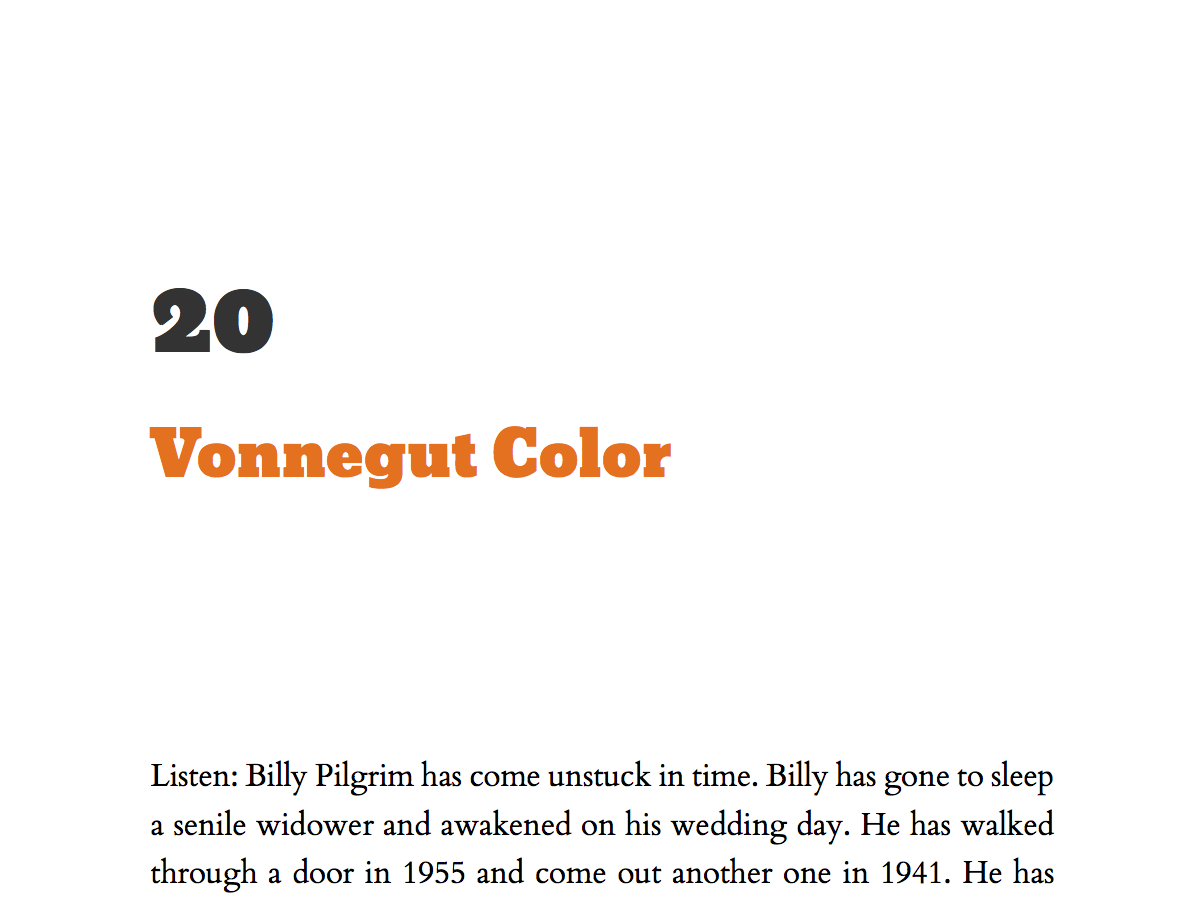 Screenshot of Vonnegut Color