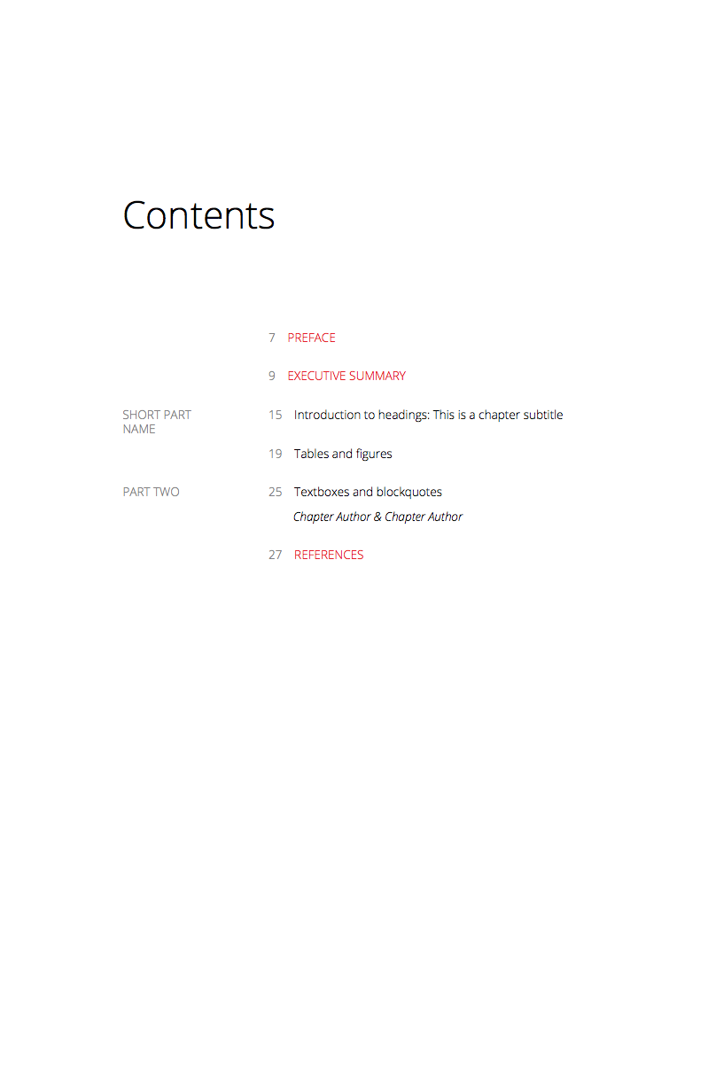 Tascha Contents Page