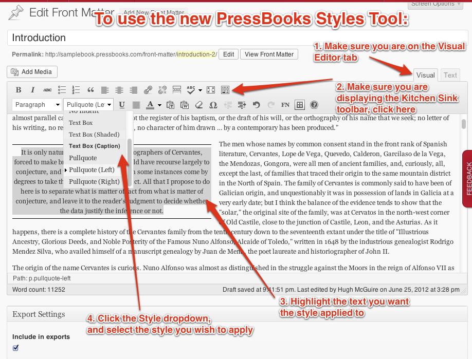 PressBooks Style Tool
