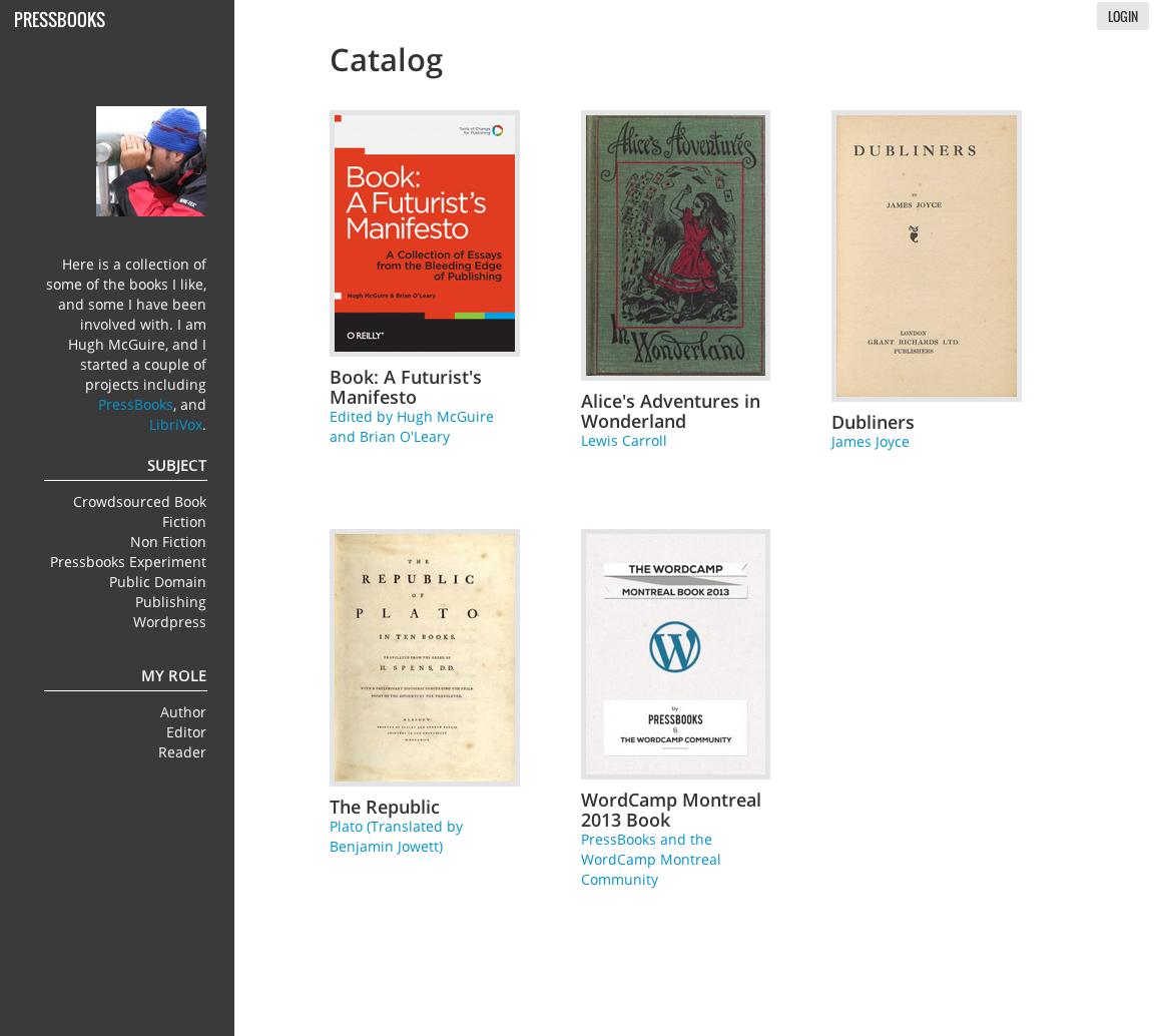 PressBooks Catalog Page