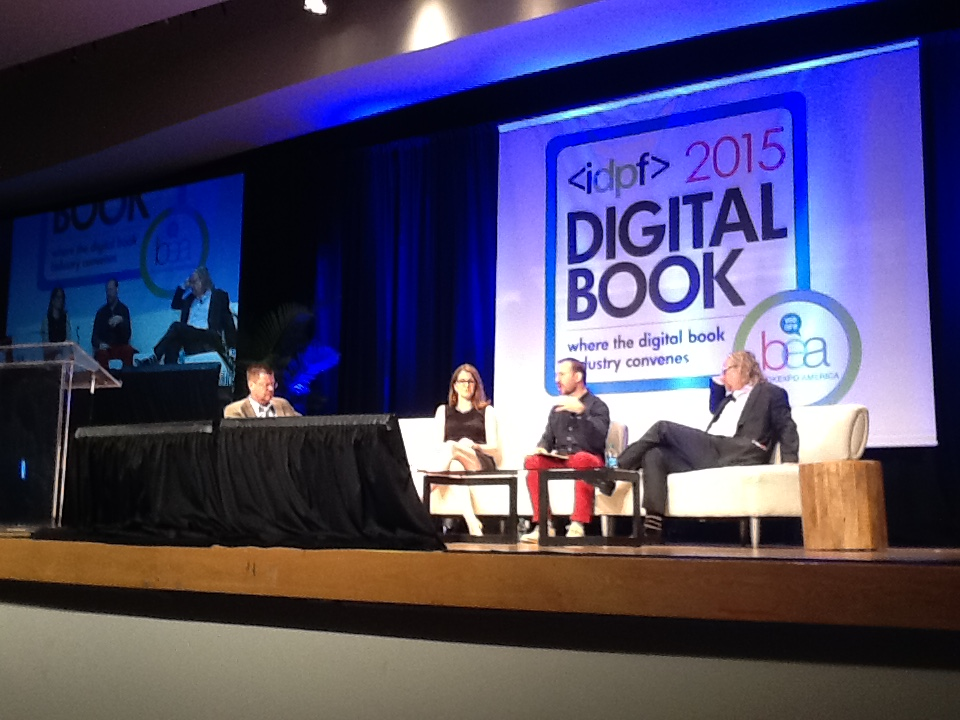 Hugh McGuire (center) with Molly Barton and Richard Nash at #IDPF #Digibook15