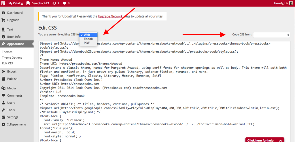CSS screen Pressbooks