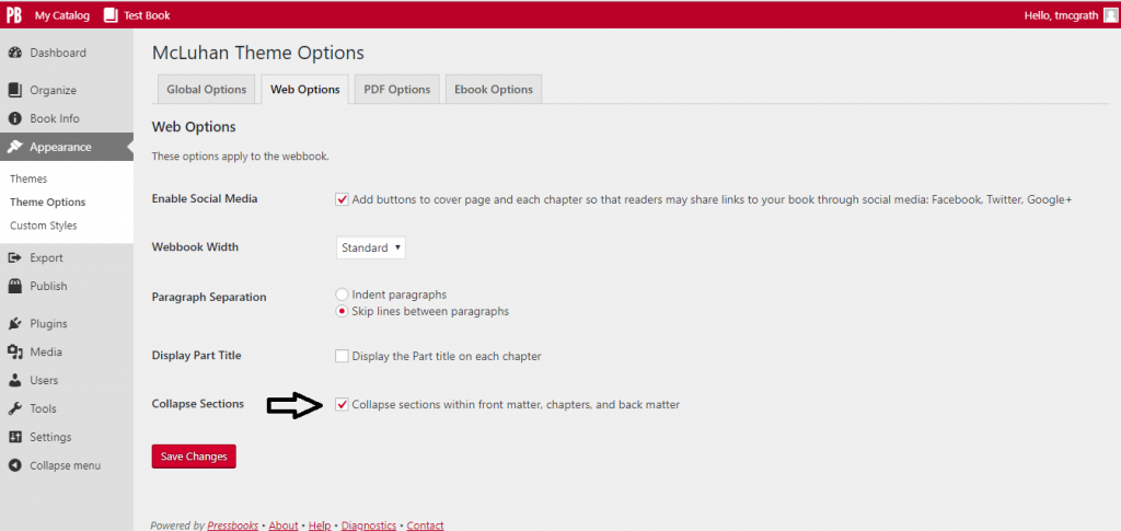 Collapsible sections theme option