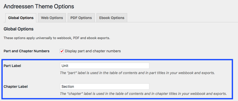 You can customize your chapter and part labels under Theme Options - Global Options.