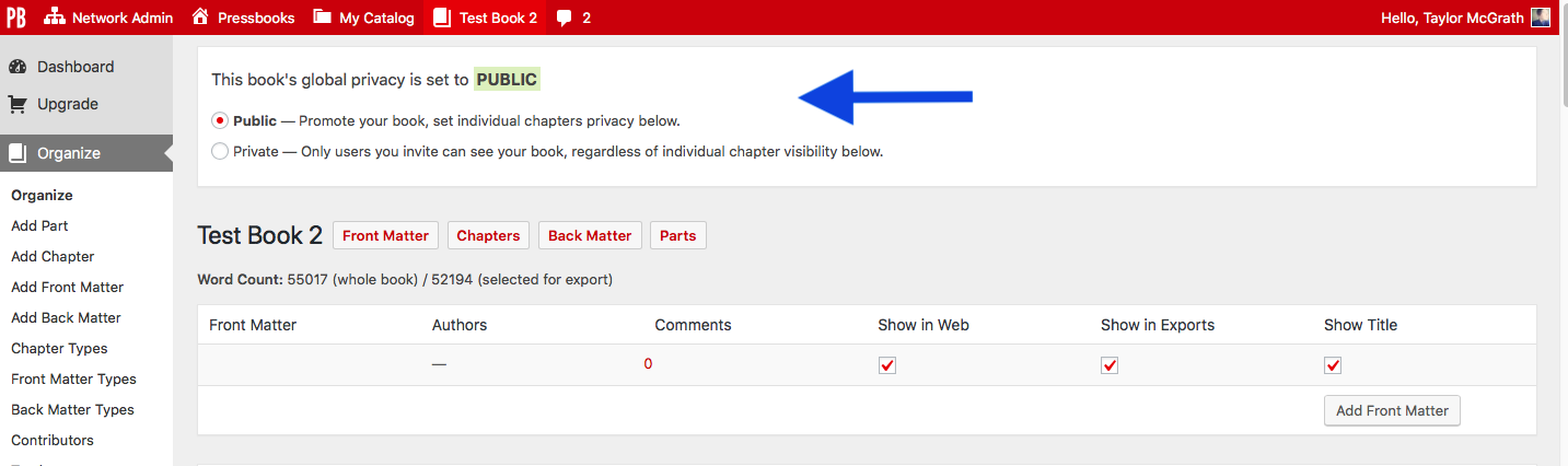 Privacy Settings: Global and Chapter-level – Pressbooks User