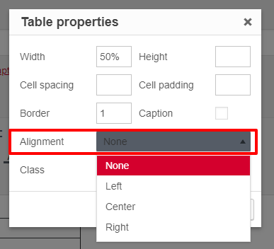Table properties with alignment property highlighted