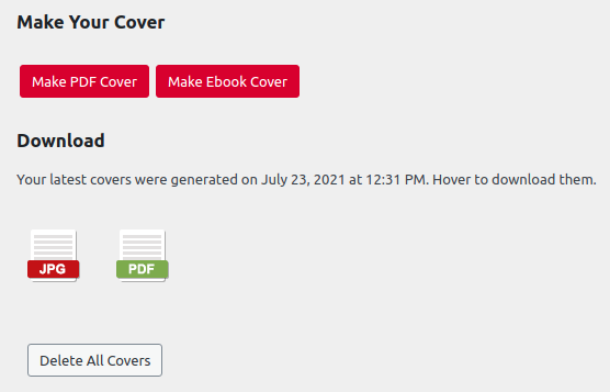 Download cover image option in the Pressbooks Cover Generator Tool