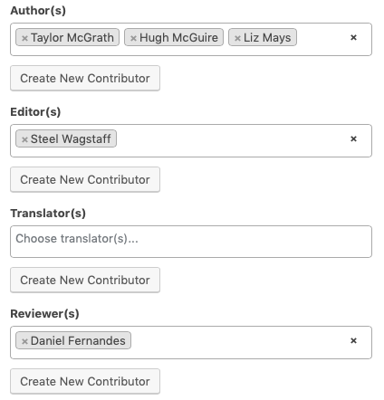 Contributor roles on the Book Info page.