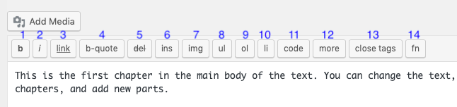The text editor and its toolbar