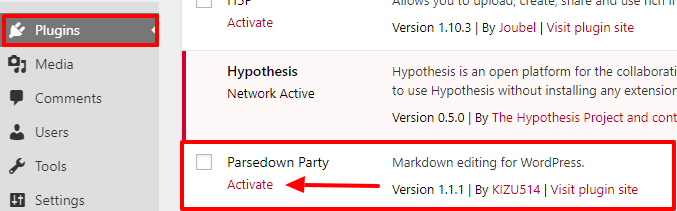 "The Activate link is underneath ""Parsedown party"" on the Plugins page"