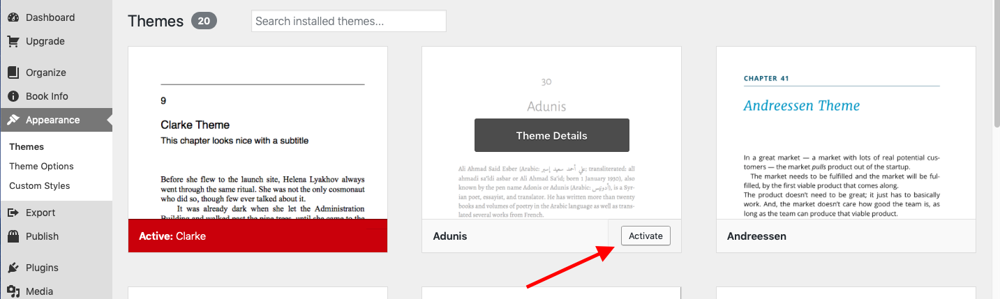 """Theme """"Activate"""" button highlighted"""