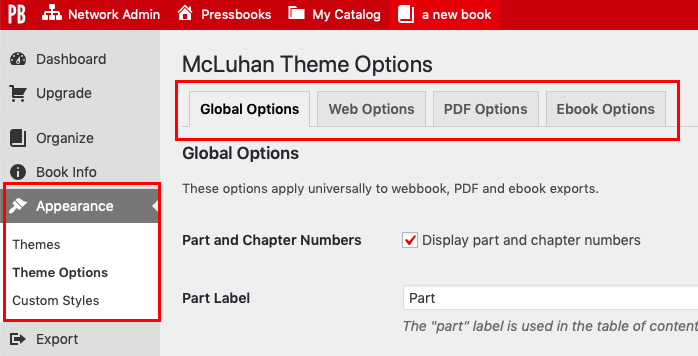 The Theme Options page with Global, PDF, Web, and Ebook tabs highlighted.