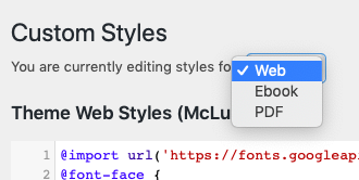 Book format dropdown menu on the Custom Styles page