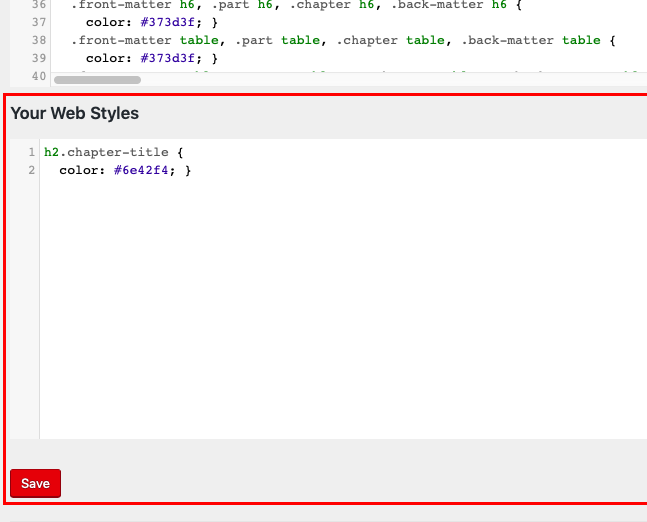 Your Styles section on the Custom Styles page