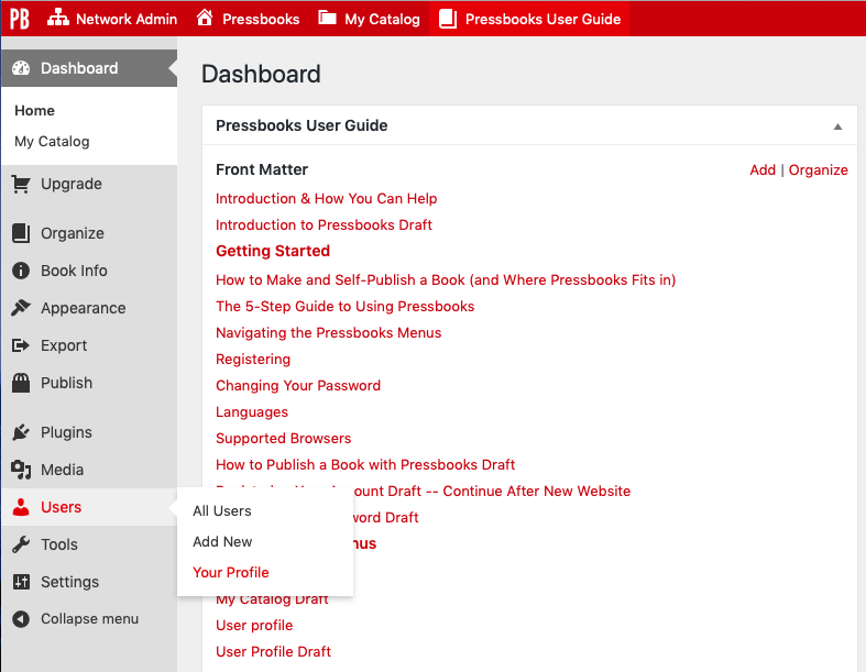 Navigate to Your Profile from the Users tab on the left sidebar menu in Pressbooks