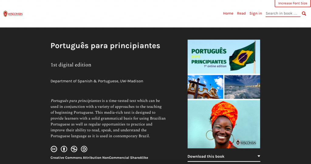 Webbook homepage for Portugues para principiantes