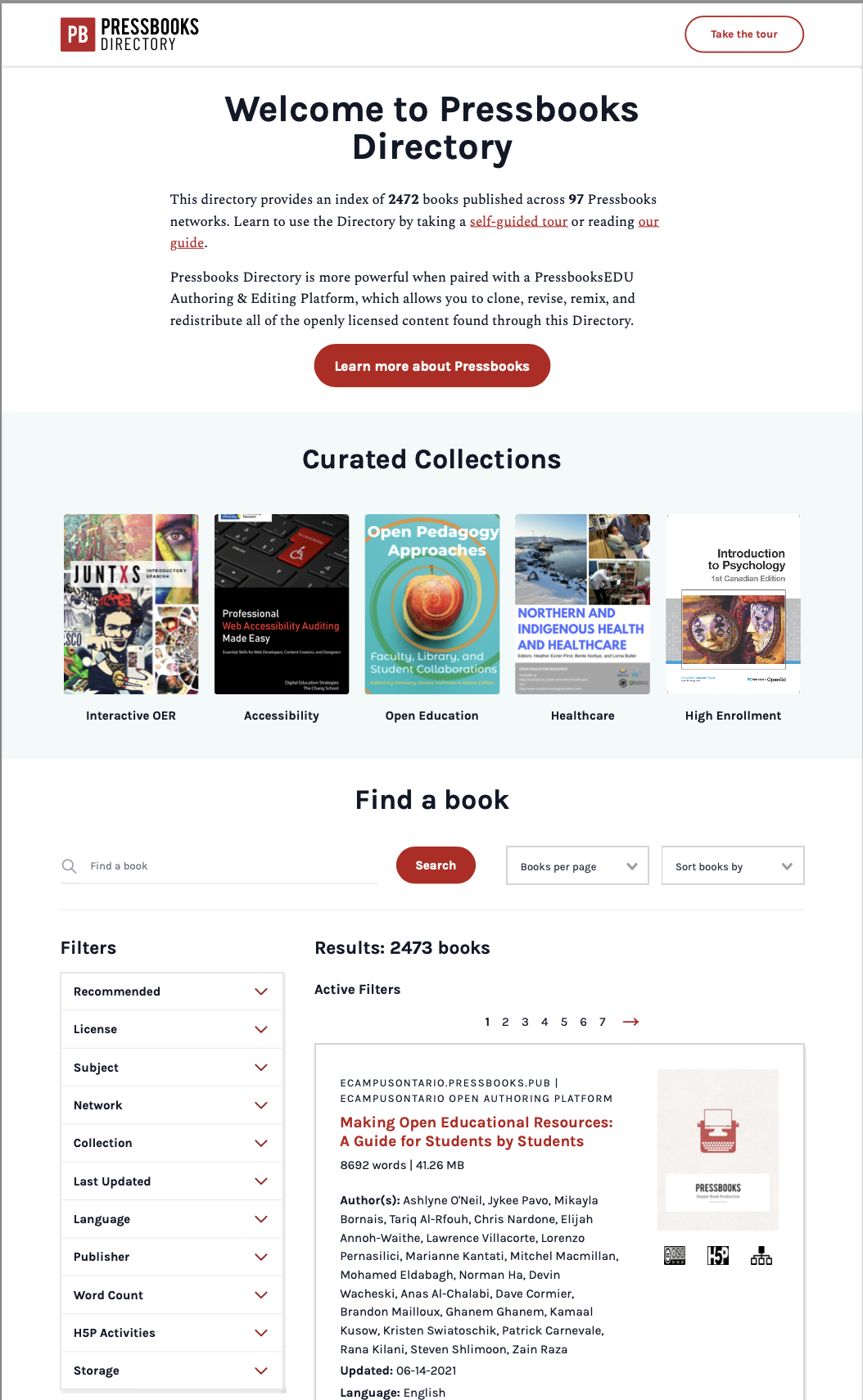 The landing page of the Pressbooks Directory