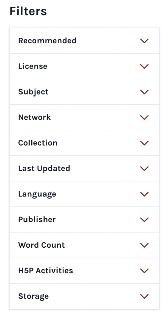 The filters as part of the directory search interface