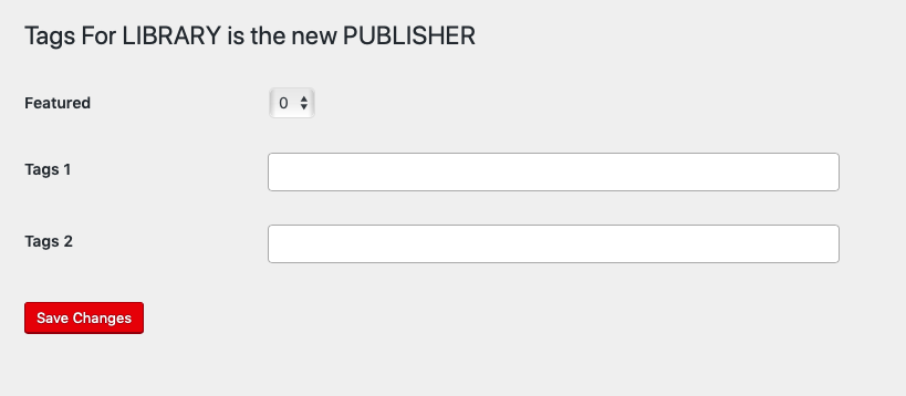 Tagging page for books in your catalog