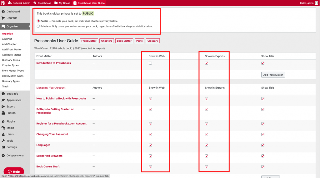 Highlighting the book privacy and export settings in the Organize menu