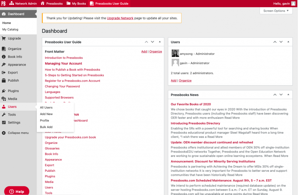 User interface directing to the user menu from the left sidebar