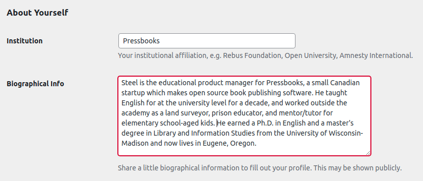 About Yourself section in Pressbooks user profile