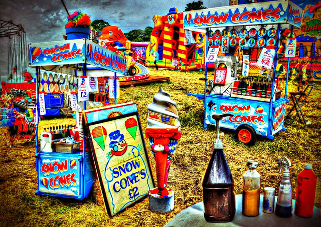 An image of two snow cone machines at a carnival