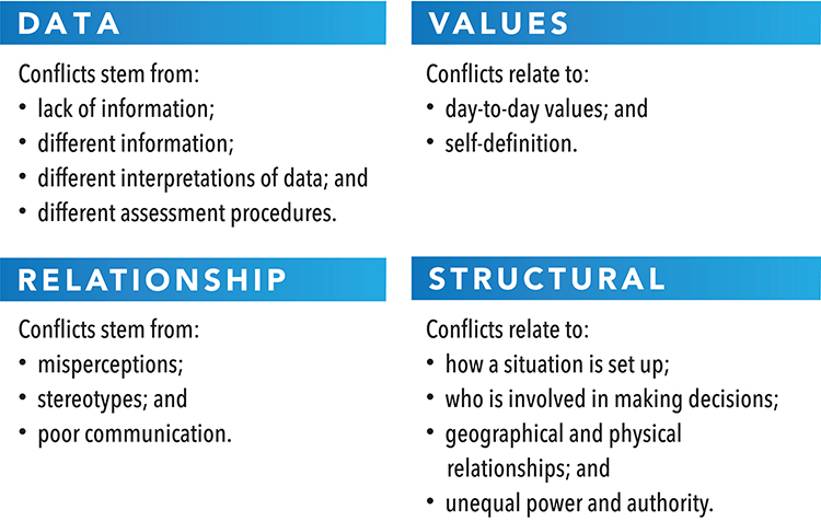types of conflict, data, structural, relationship, values