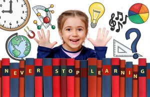 Never Stop Learning words and girl with hands up, graphics for learning areas such as science, music, geography, math.