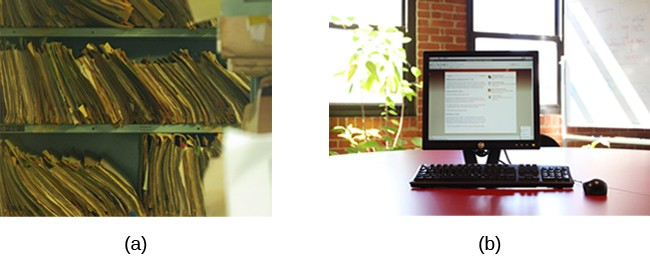 (a) A photograph shows stacks of paper files on shelves. (b) A photograph shows a computer.