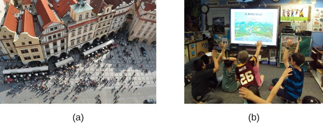 (a) A photograph shows an aerial view of crowds on a street. (b) A photograph shows a small group of children.