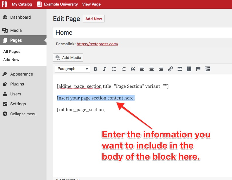 Enter the information you want to include in the body of the block
