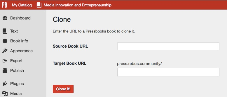 Enter your source book URL and target book URL on the cloning interface