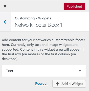 Adding widgets from your customization menu