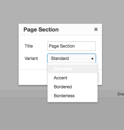 Page Section options for your content blocks