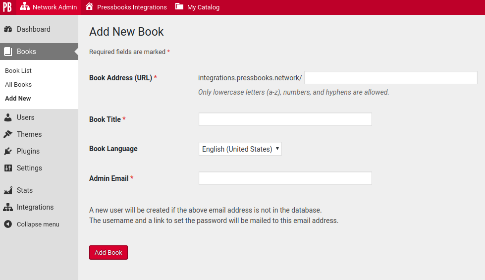 Screenshot showing the Add New Book interface from the Pressbooks Network Manager Dashboard