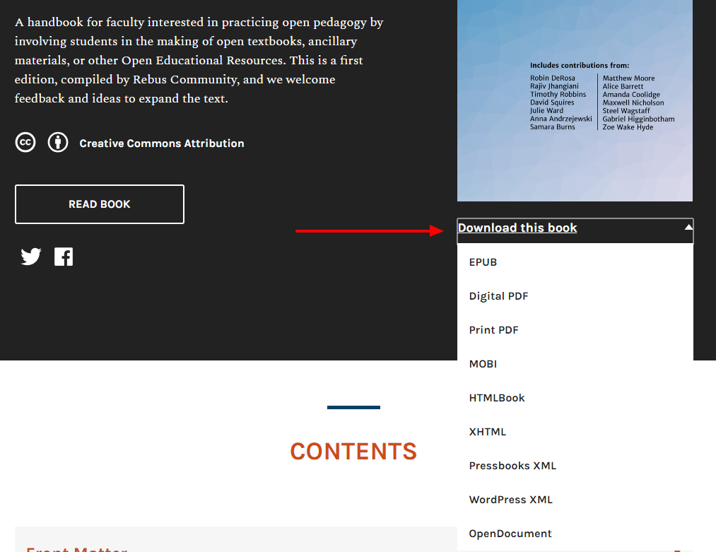 On your book's homepage, you'll see public options for download