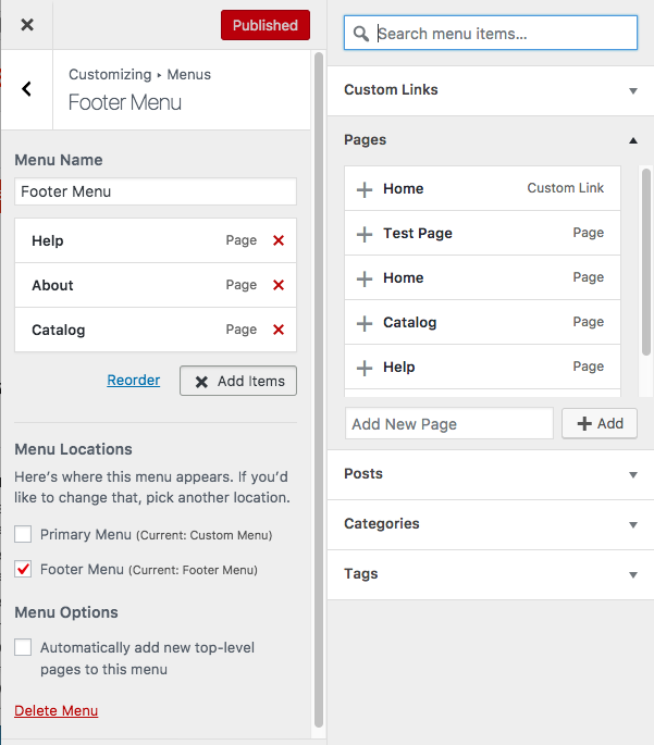 Screenshot for customizing your footer menu with different pages