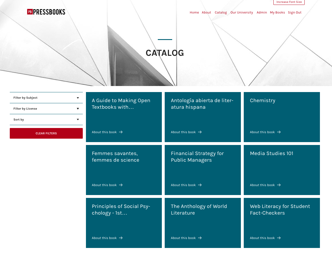The standalone catalog page