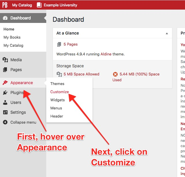 Navigating from your Dashboard, to Appearance, and then to Customize