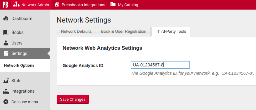 Screenshot showing the Google Analytics ID field in Pressbooks