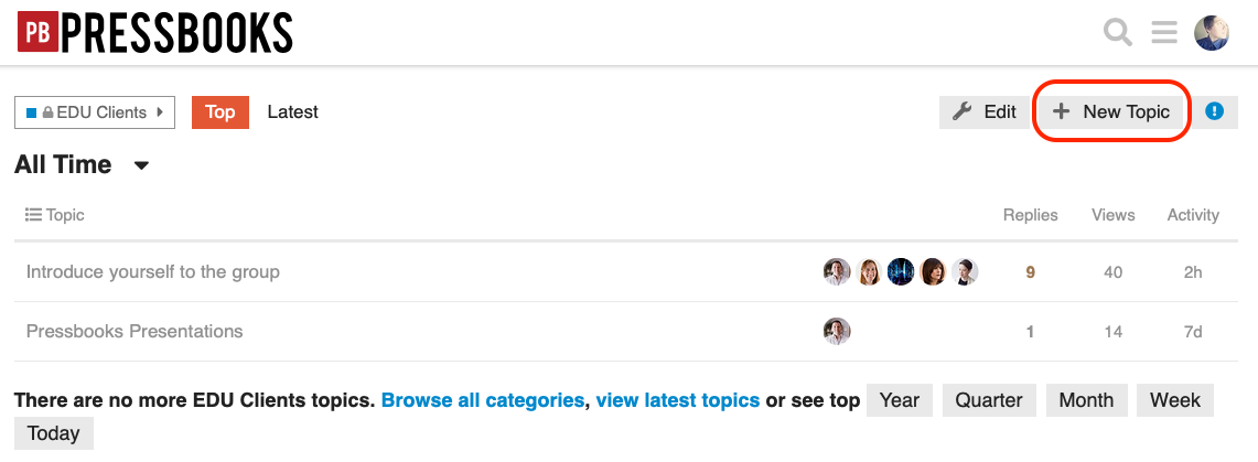 New Topic button in the EDU Clients category