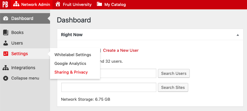 Navigate to the Sharing & Privacy page