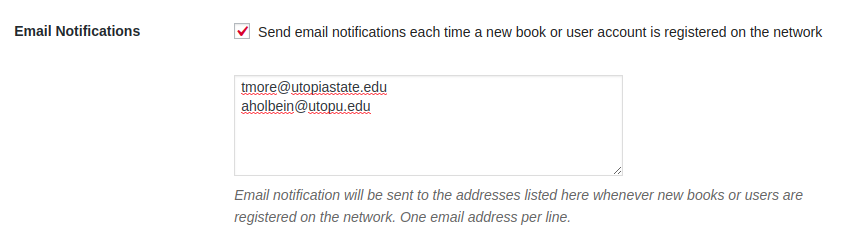 Sample email notification setting in Pressbooks with two example email addresses provided.