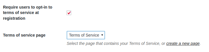 Pressbooks network settings with terms of service page selected