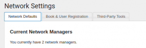 Network Options page showing sample 'Network Managers' text and three three tab settings options